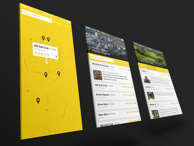 Agógò Network App Concept map ui yellow review city app flat mockup yelp clean minimal