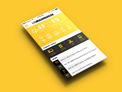 UWM University App Concept ui mockup yellow black flat iphone milwaukee weather university school campus