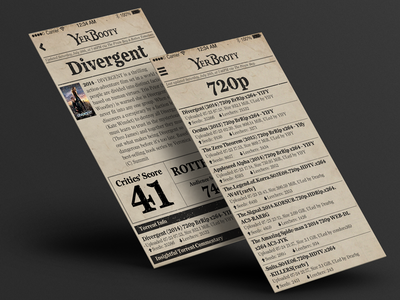 YerBooty App newspaper torrenting movies app ui vintage pirate texture
