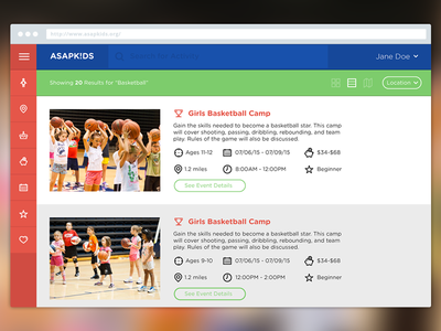 ASAP K!DS Dashboard website web app responsive kids events children app dashboard mockup ui