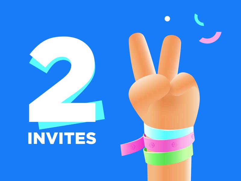 2 Dribbble Invites! confetti bracelet finger gesture hand invite giveaway invite illustration flat