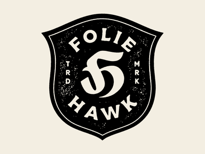 FH Monogram 3 badge design hawk lettering h f printmaking badge black branding texture monogram logo typography