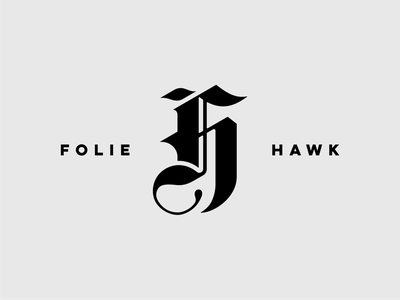 FH Monogram 4 logotype black hawk folie logo mark clean sharp ornament fh h f black and white branding monogram logo design lettering blackletter typography