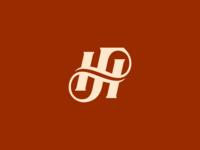 FH Monogram 5 helix twist logo mark design h f branding monogram logo typography