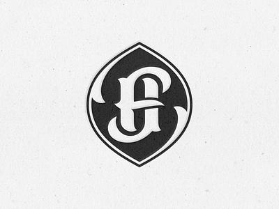Folie Hawk Monogram Badge print stamp letterpress vector illustration logotype h f black branding texture monogram logo typography