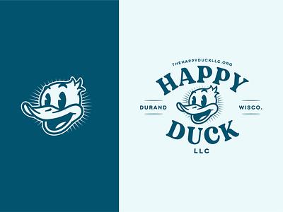 Happy Duck Brand Marks cartoon llc brand identity branding duck wisconsin vector illustration badge design logo design logo mark logo