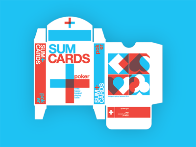 Sum Cards 2.0 poker box dieline typography swiss design playing cards
