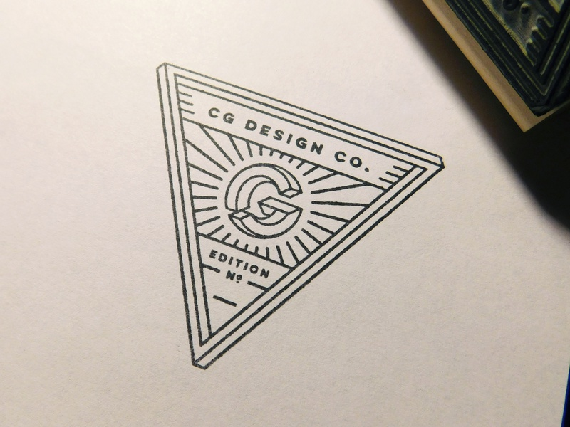 Edition Stamp printmaking print triangle edition stamp cg optical illusion monogram logo personal brand custom stamp rubber stamp