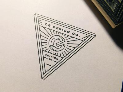 Edition Stamp printmaking print triangle edition stamp cg optical illusion monogram logo personal brand custom stamp rubber stamp