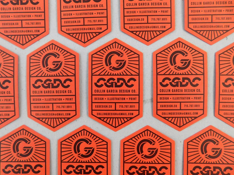 CGDC Business Cards hexagon monogram black orange diecut letterpress personal branding business card typography logo