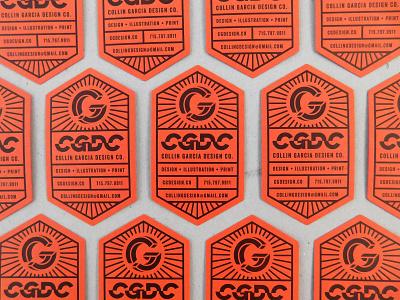 CGDC Business Cards hexagon monogram black orange diecut letterpress personal branding business card typography logo