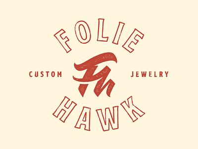 FH Monogram 2 hawk folie letterpress h f script illustration branding texture monogram logo typography