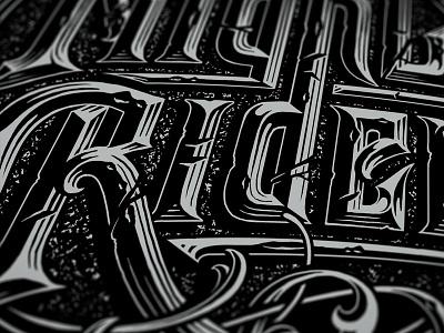 Chisel type close up typography hand drawn custom serif lettering black letter vintage flourish circle line work