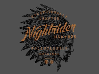Relentless chief indian americana vintage stencil script lettering custom hand drawn typography