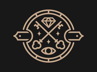 Keyholders icon icon emblem minimalist simple vector diamond all seeing eye occult secret society key line work logo