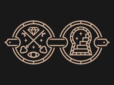 Keyholders logo line work key secret society occult all seeing eye diamond vector simple minimalist emblem icon