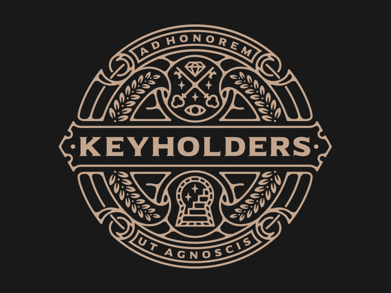 Keyholders logo icon emblem minimalist simple vector occult stairs key line work logo