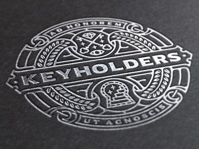 Keyholders logo foil logo line work key stairs occult vector simple minimalist emblem icon