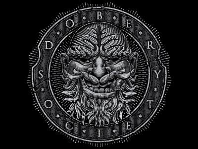 Dober Society illustration line work woodcut engraving vector vintage grunge distressed