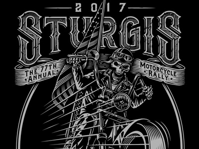 Sturgis 2017 illustration line work woodcut skull skeleton motorcycle american flag typography hand lettering americana