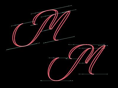 Bezier experimentation m handles bezier vector script lettering custom hand drawn typography