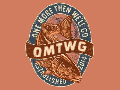 OMTWG lettering logo vintage redfish drum illustration line work fishing apparel grunge banner