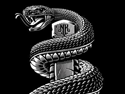 Rattlesnake illustration design line work vector snake scales sword