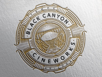 Black Canyon Cineworks bridge mountain circle logo emblem vector vintage line work design illustration