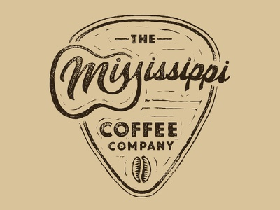 The Mississippi Coffee Company script lettering hand drawn woodcut pick guitar bean coffee mississippi design logo