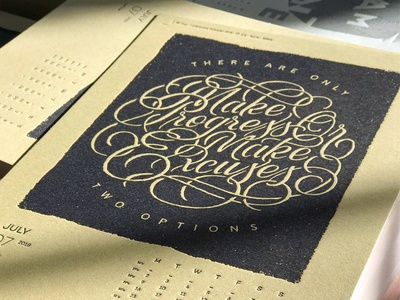 2018 Letterpress Calendar letterpress calendar handles bezier vector swash script lettering custom hand drawn typography