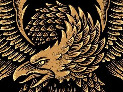 Eagle linework woodcut vintage hand drawn eagle americana america illustration