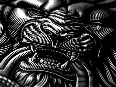 Details lion vector line work design illustration woodcut etching