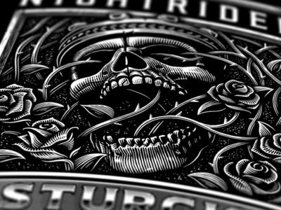 Sturgis 2018 sturgis crown king rose skull custom lettering hand drawn design linework vector motorcycle americana