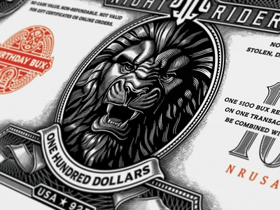 Making money now 😊 dollar american crests currency lion branding woodcut line work hand drawn vintage lettering typography illustration