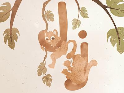 Little Jaguars 😍 Letter J tropical foliage children animal animals nature kids jaguar j letter character illustrator design 2020 illustration
