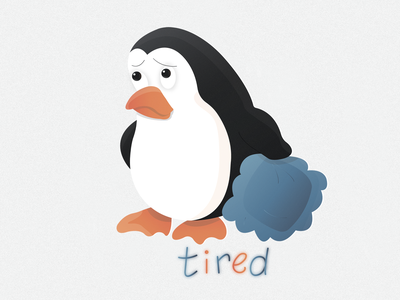 Penguin sticker №4 🐧🔥 (tired)   Day 4 overworked fatigued pillow sleep sticker show penguin logo illustration illustrator ice emotion design tired cold character branding animals animal 2020