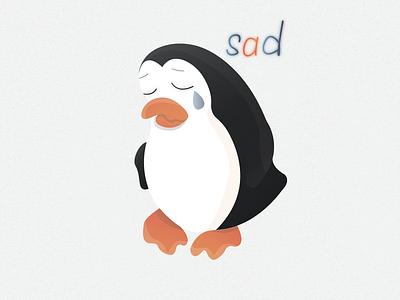 Penguin sticker №6 🐧🔥 (sad)   Day 6 heartbroken sticker show penguin sadness tear cry sad logo illustraion illustrator ice emotion design cold character branding animals animal 2020