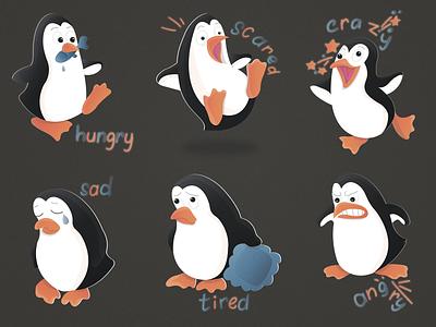 Sticker pack Penguin  №1 (6/12) 🐧🔥 sticker angry tired sad craze scared hungry penguin ice emotion cold branding animals logo animal illustration character illustrator design 2020