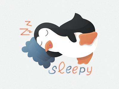 Penguin sticker №7 🐧🔥 (sleepy)   Day 7 pillow show sticker penguin zzz sleepy sleep ice emotion cold branding animals logo animal illustration character illustrator design 2020