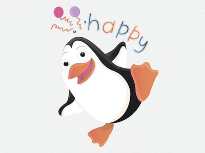 Penguin sticker №11 🐧🔥 (happy)   Day 11 glad cheerful joy ice cold penguin smile balloon happy sticker emotion branding animals animal logo illustration character illustrator design 2020