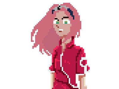 Pixel girl ❤ (16 bit) pink kimono emotion character illustration design 2020 pixelart pixel 8-bit 8bit 16 bit 16bit illustrator green japanese japan girl sakura naruto