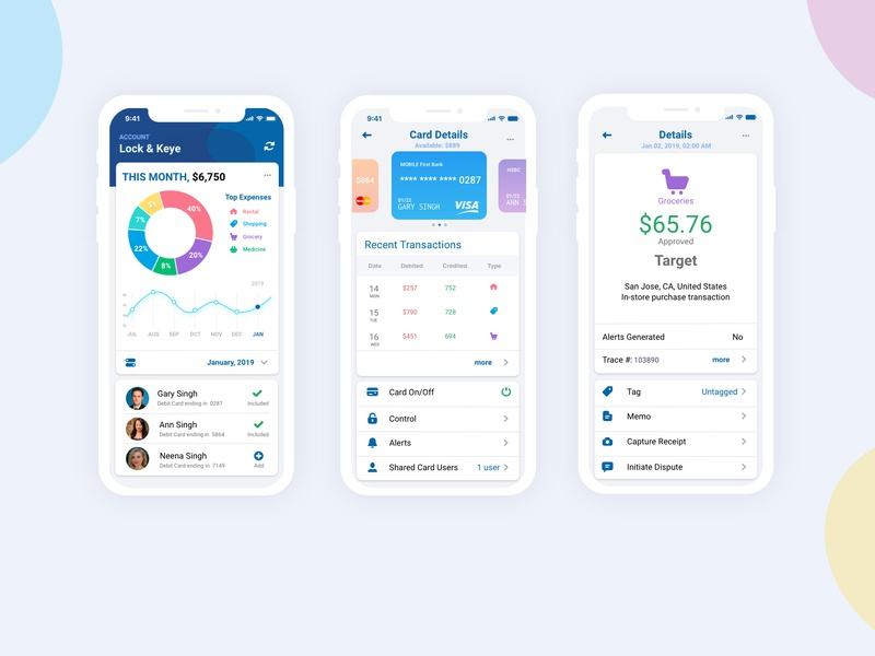 Credit Card App fin-tech mobile app design mobile app line chart donut chart transactions shopping cart finance credit card bank mobile dashboard icon ux branding ui app design