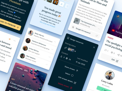 Trickle.app - Design System reader platform learning mobile buttons trickle atomic elements progress list items card cards components design system system website design ux ui app
