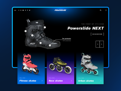 Powerslide Homepage Redesign Concept website concept home landing layout modern theme dark light redesign homepage page ecommerce product sports sport sketch ui design 7ninjas
