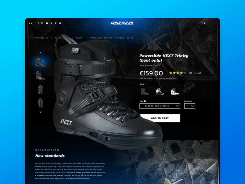 Powerslide Product Page Redesign Concept details accordion description 7ninjas design ui sketch sport sports product ecommerce page redesign light dark theme modern layout concept website
