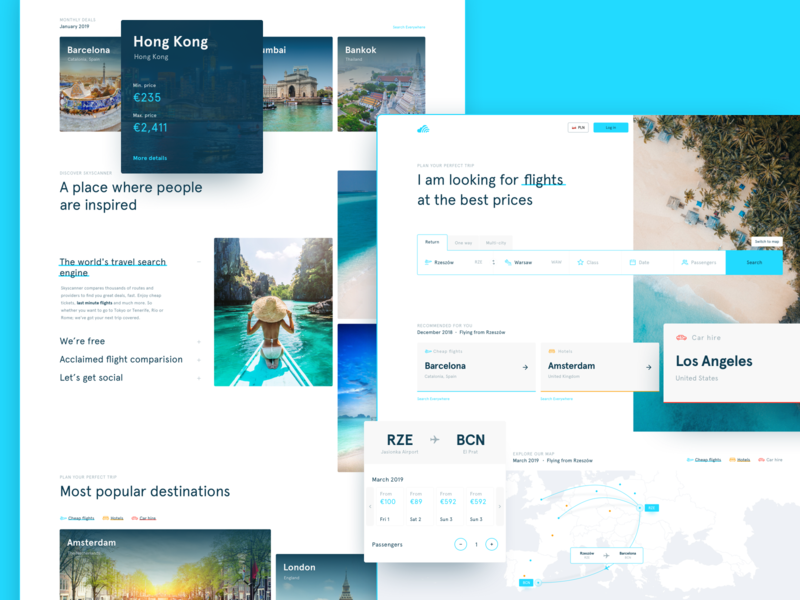 Skyscanner Homepage Redesign Concept search bar flights hotels booking airline travel 7ninjas search website web design design ux ui skyscanner redesign landing page home homepage holiday branding