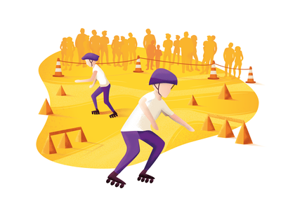 Skating competition fun activity vector lifestyle roller skating skater skate competition people boy design noise texture character illustration sport