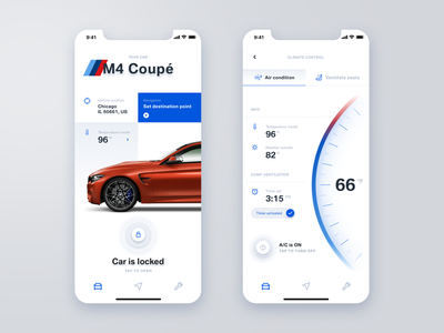 BMW Connected App Concept temperature picker volkswagen assistance location audi vehicle tesla mercedes automotive control remote car air condition thermometer mobile interaction app bmw 7ninjas