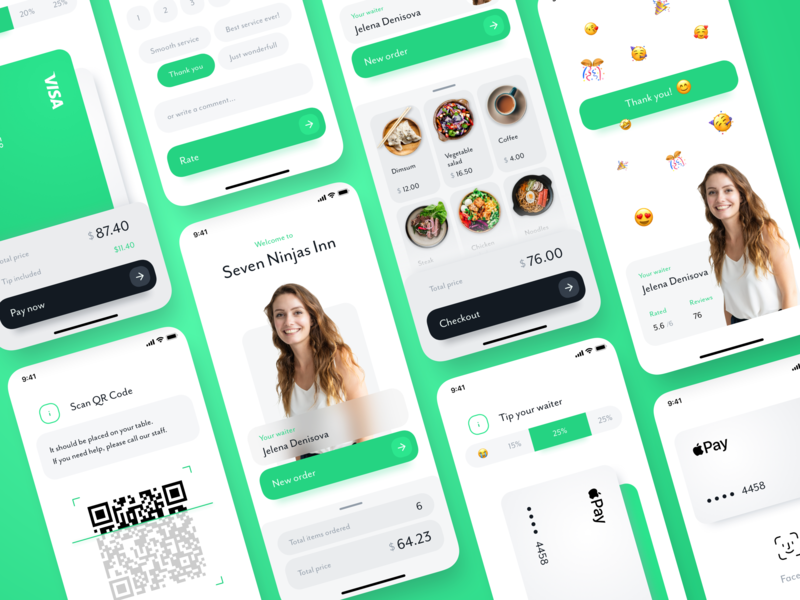 Restorate - order, checkout and rate your restaurant visit scan menu gastronomy transactions details list order payments restaurant rate rating credit card qr code face id apple pay payment waiter food app 7ninjas