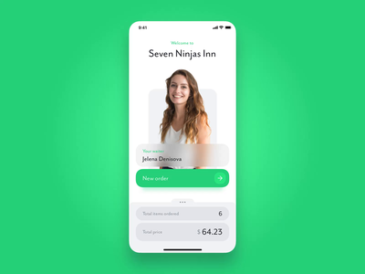 Restorate app 🍽 animated screens list gastronomy waiter transaction scan restaurant rating rate payment order menu food face id interaction details credit card app apple pay animation 7ninjas